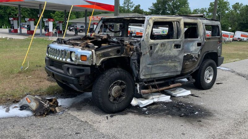 A Hummer H2 with a cache of gasoline in the back was destroyed in Homosassa Wednesday.
