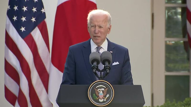 President Joe Biden announces a new partnership with Japan at a press conference with the...