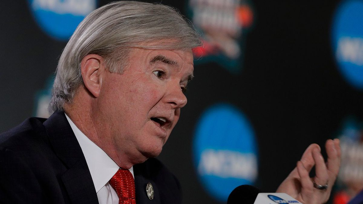 FILE - In this March 29, 2018, file photo, NCAA President Mark Emmert speaks during a news conference at the Final Four NCAA college basketball tournament in San Antonio. (AP Photo/David J. Phillip, File)