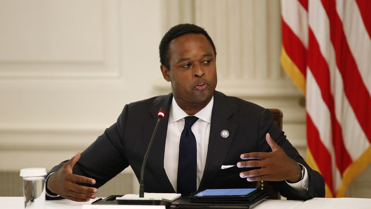 Kentucky Attorney General Daniel Cameron speaks during a roundtable discussion with President Donald Trump and law enforcement officials, Monday, June 8, 2020, at the White House in Washington. (AP Photo/Patrick Semansky)