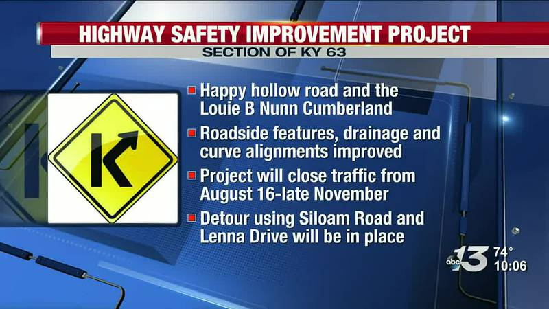 Highway safety improvement project will close section of KY 63 on August 16