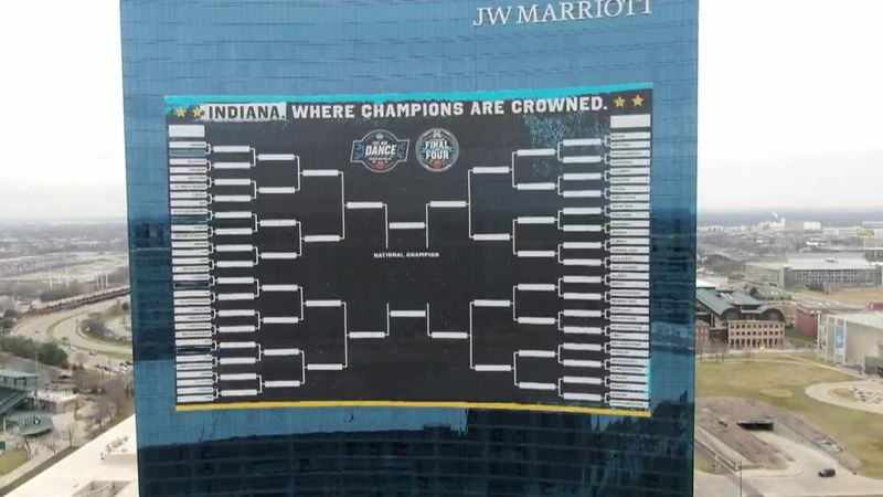 What's being called the world's largest bracket is now up on the side of Indianapolis' largest...
