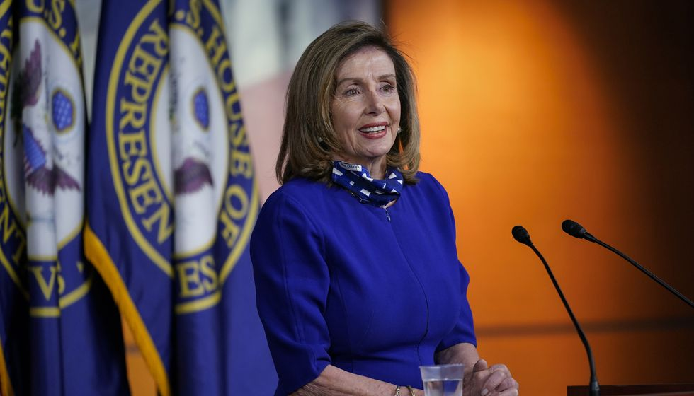 Speaker of the House Nancy Pelosi, D-Calif., speaks during a news conference at the Capitol in Washington, Thursday, Aug. 27, 2020.
