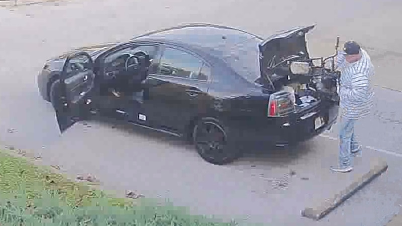 Police say the suspect loaded the stolen minibike into the trunk of black 4-door Mitsubishi.