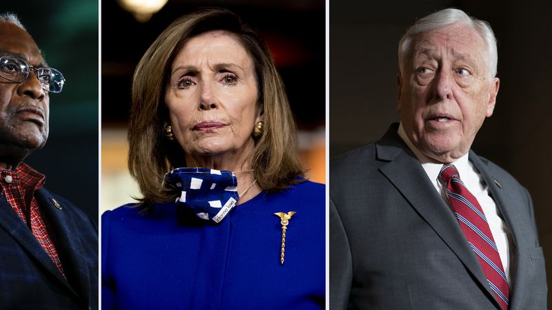 This combination of file photos shows from left, Rep. James Clyburn, D-S.C. on Feb. 29, 2020,...