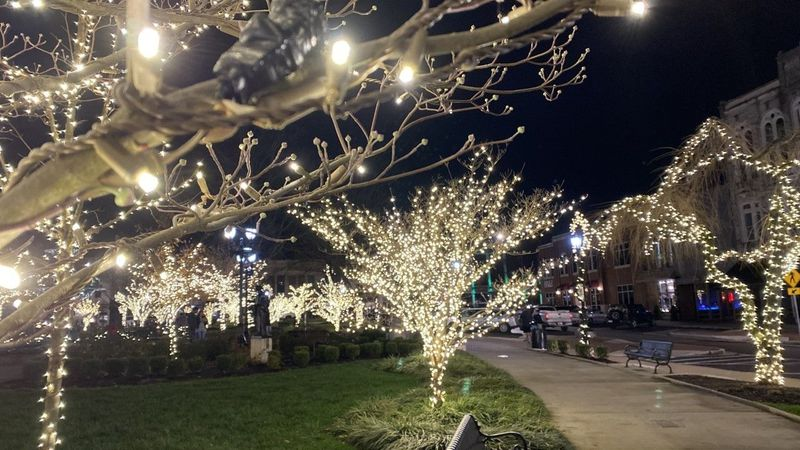 The festive holiday lights at Fountain Square Park will remain up through February 15. (WBKO)