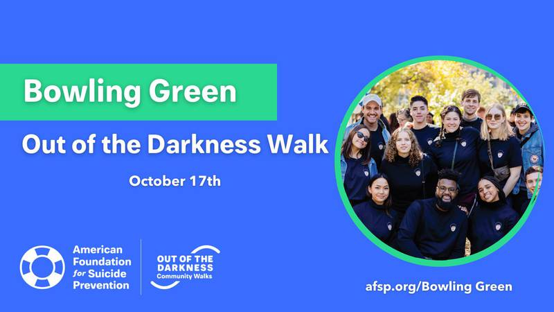 The suicide awareness and prevention walk is October 17 at Ephram White Park in Bowling Green.