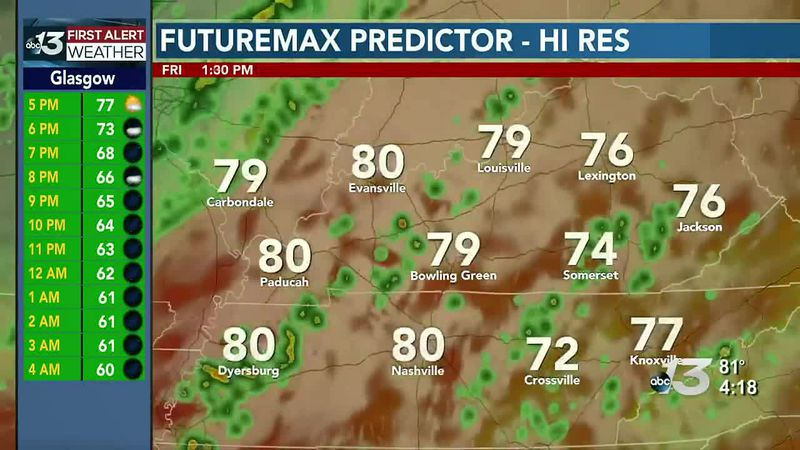 A few strong thunderstorms possible late Friday