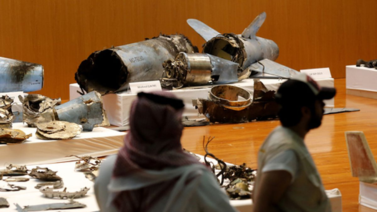 The Saudi military displays what they say are an Iranian cruise missile and drones used in recent attack on its oil industry at Saudi Aramco's facilities in Abqaiq and Khurais, during a press conference in Riyadh, Saudi Arabia, Wednesday, Sept. 18, 2019.  (AP Photo/Amr Nabil)