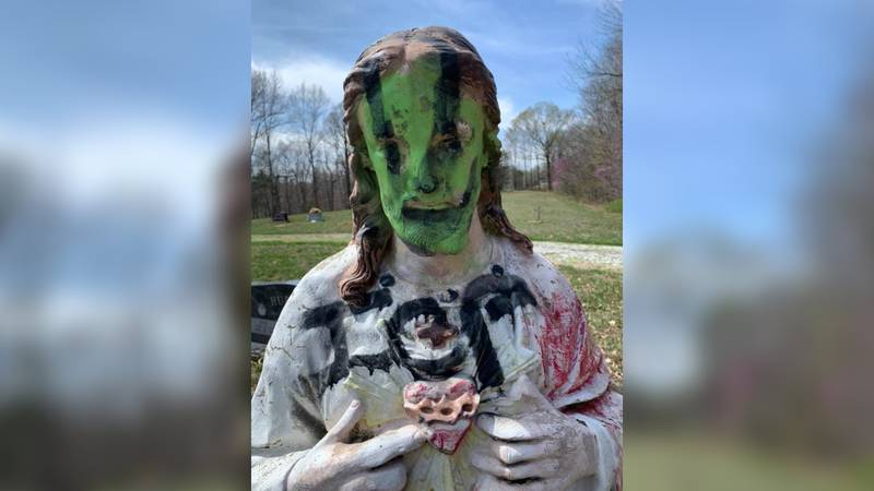 A statue in a Logan County cemetery was vandalized this week.