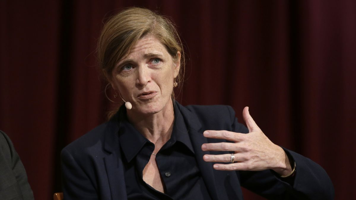 FILE - Harvard professor Samantha Power, former U.S. Ambassador to the United Nations,...