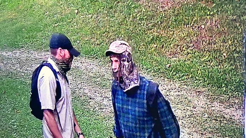 According to a social media post from the WCSO, the men are seen with face coverings--one...