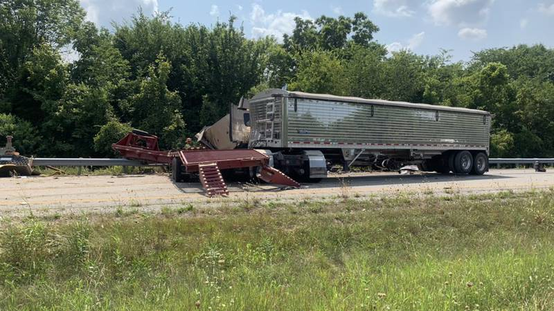 The southbound lanes of Interstate 165 are blocked due to an accident involving a semi truck.
