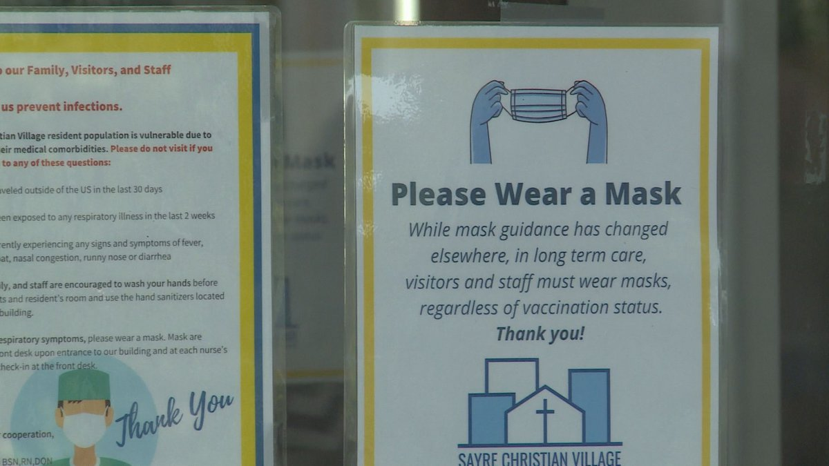 Visitors are reminded to mask-up when entering Sayre Christian Village.