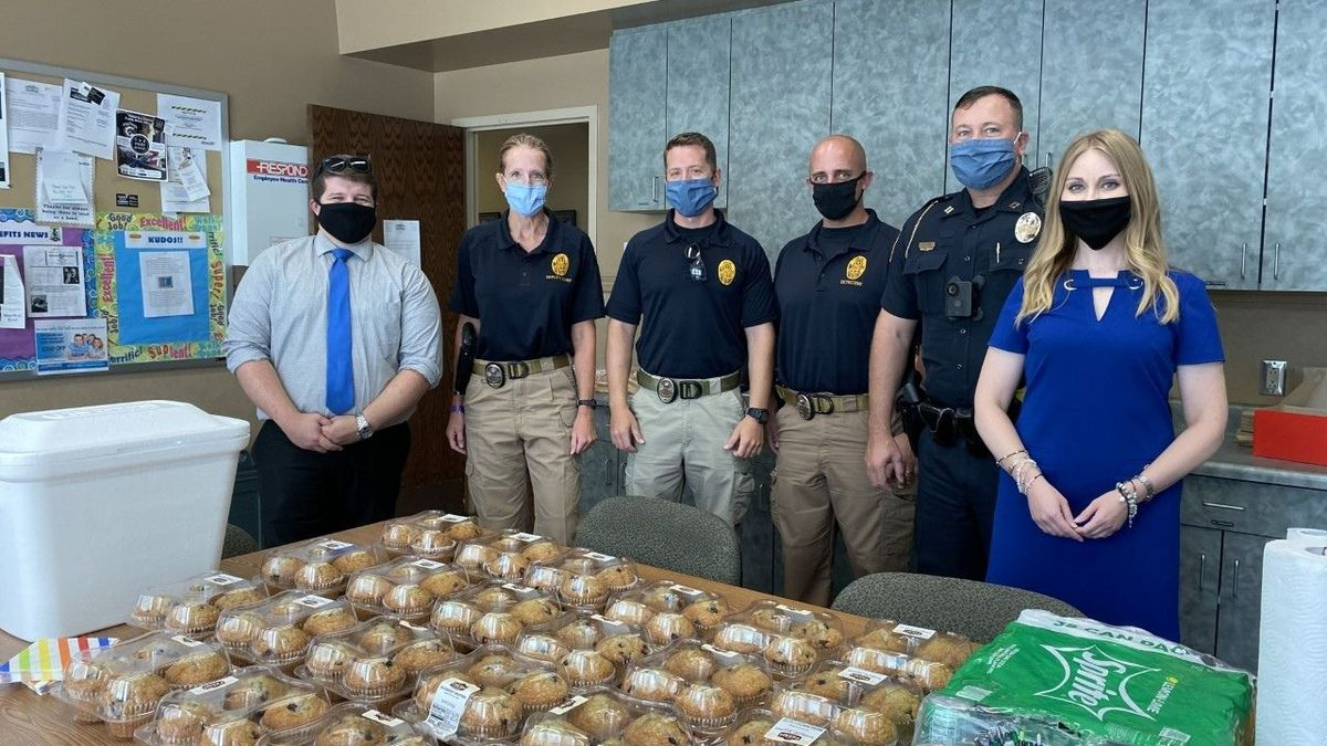 WBKO's Laura Rogers and Ethan Emery delivered muffins to local law enforcement officials Wednesday morning.