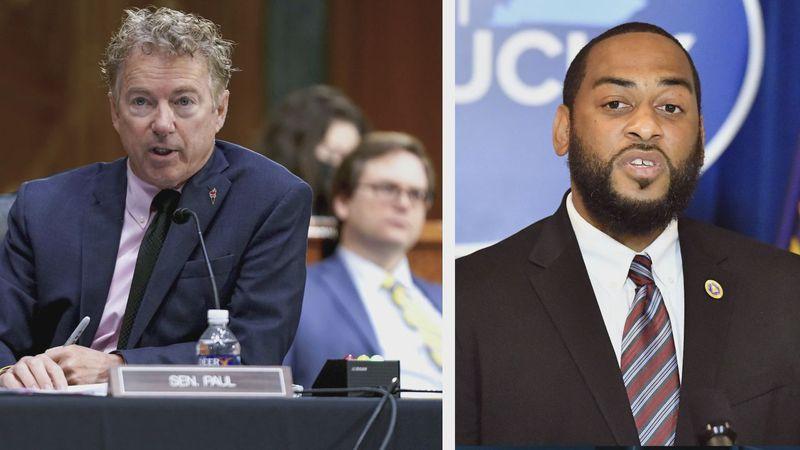 Sen. Rand Paul and likely U.S. Senate opponent Charles Booker.