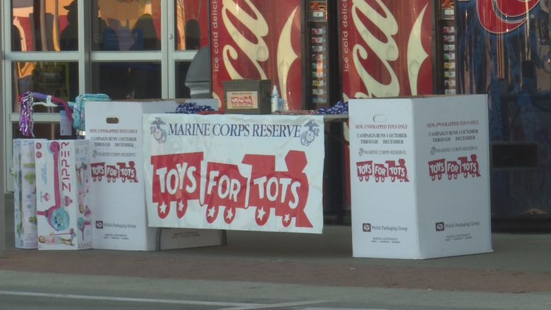 Toys for Tots at Walmart for the annual Hand it to a Hero toy drive