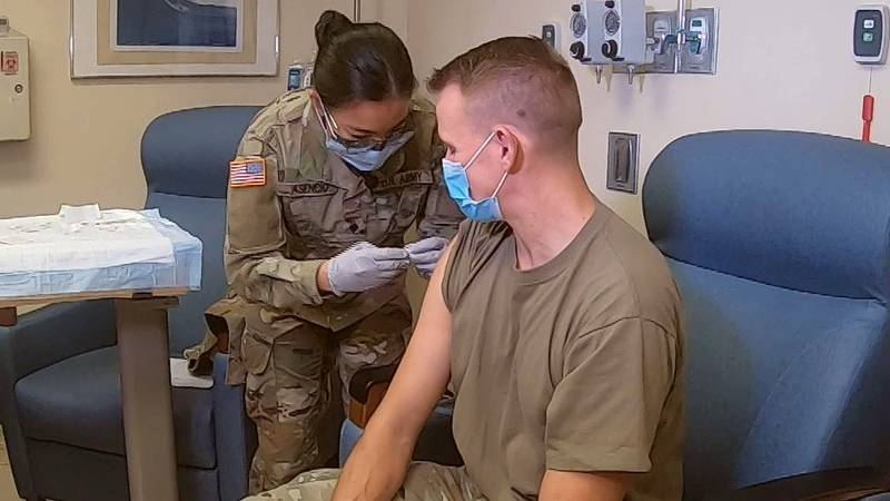 Troops will be able to get their Pfizer shots at their bases and from their commands around the...
