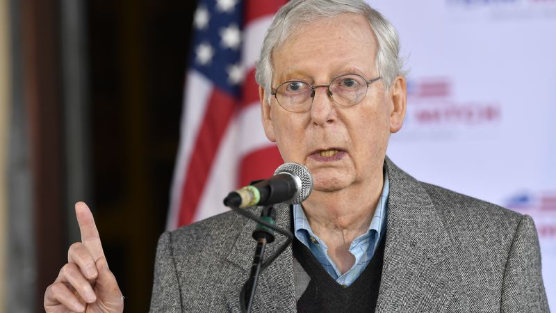 Senate Majority Leader Mitch McConnell, R-Ky., speaks to a gathering of supporters in...