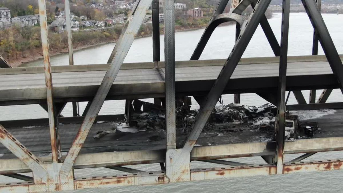 Aerial footage from our sister station WXIX's drone of the aftermath from the firey crash on...