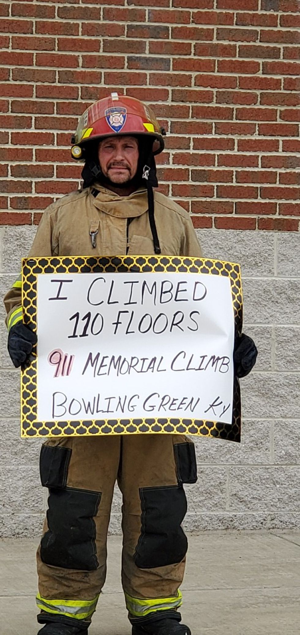 Firefighter climbs 110 floors.