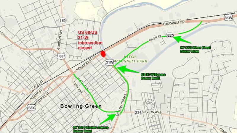 Map of KYTC detour