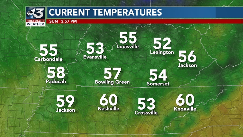 Temperature readings show much of the South Central KY area in the mid to upper 50s this...