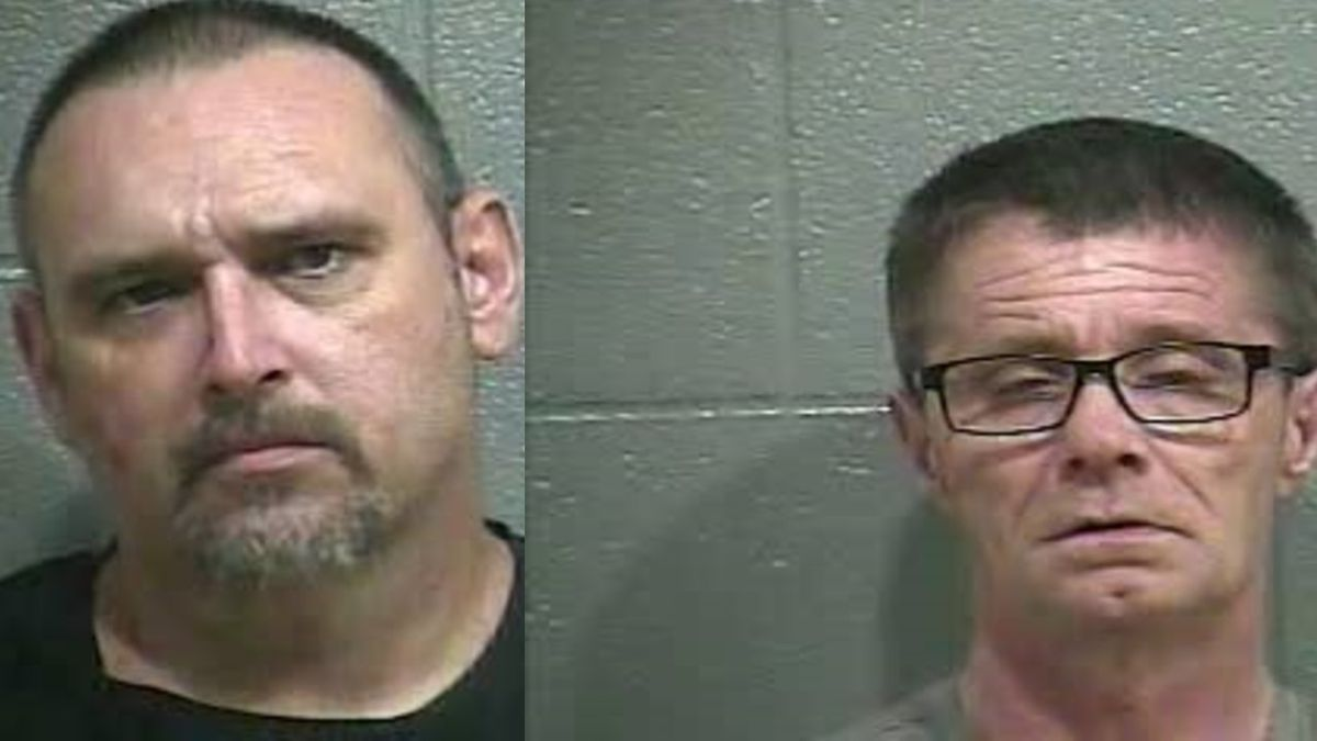 Two Glasgow men were arrested after meth and a glass pipe were found.
