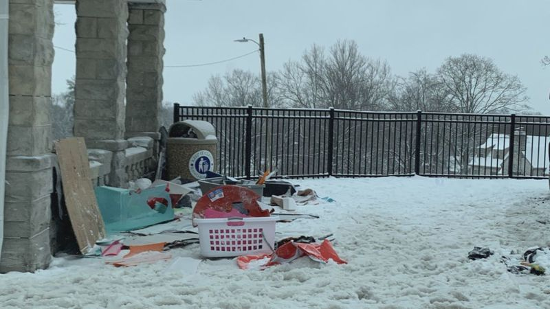 Hospital Hill trash following sledding.