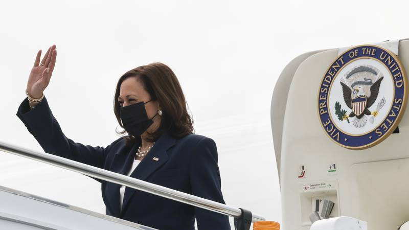 U.S. Vice President Kamala Harris arrives in Singapore Sunday, Aug. 22, 2021. Harris is on a...