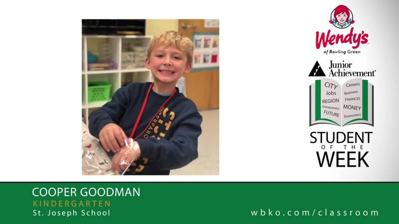 The JA Student of the Week is Cooper Goodman