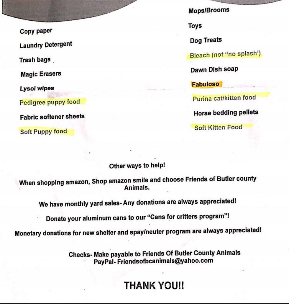 Butler County Animal Shelter Wishlist