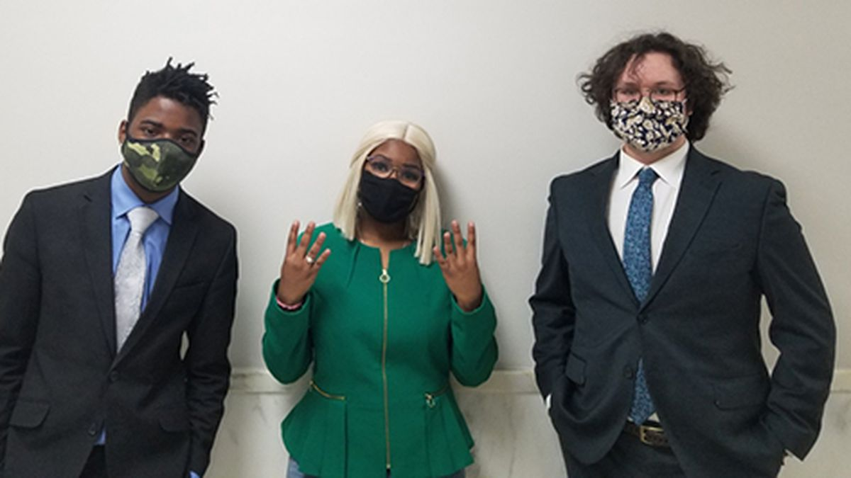 From left: WKU Forensics Team members Reginald Jefferson, Daliss Hicks and Joseph Eberle.