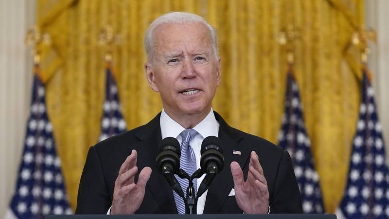 President Joe Biden speaks about Afghanistan from the East Room of the White House, Monday,...