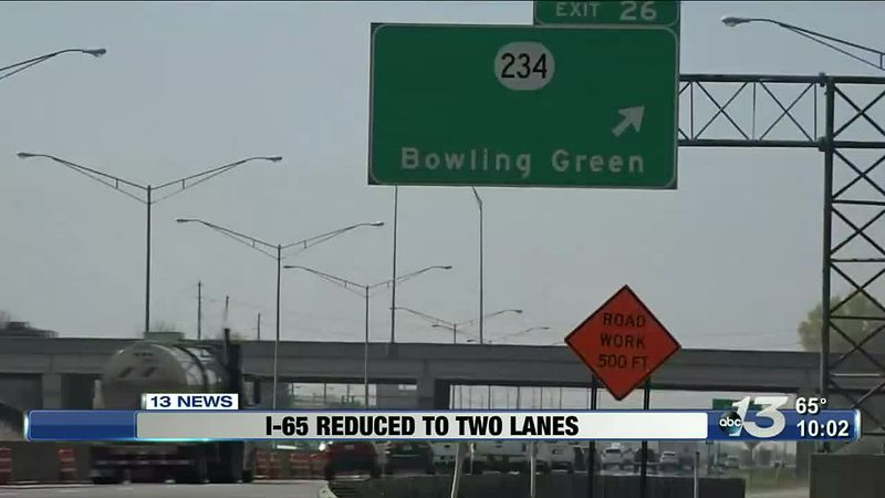 I-65 Lanes will be reduced to 2 lanes until early winter