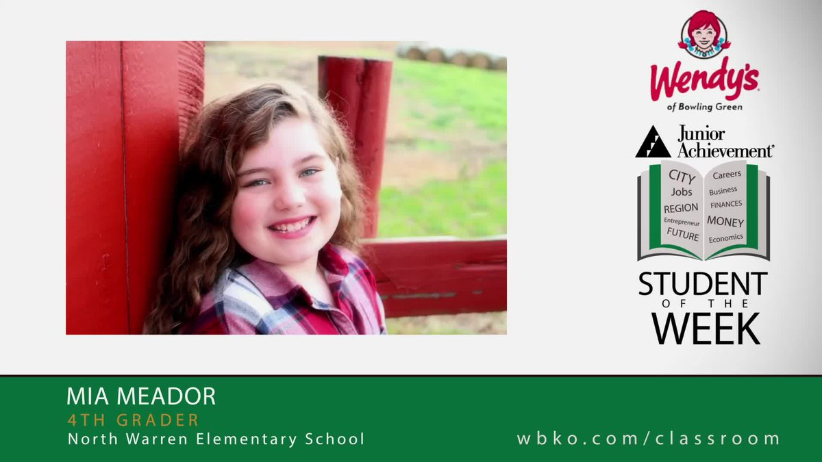 The JA Student of the Week is Mia Meador