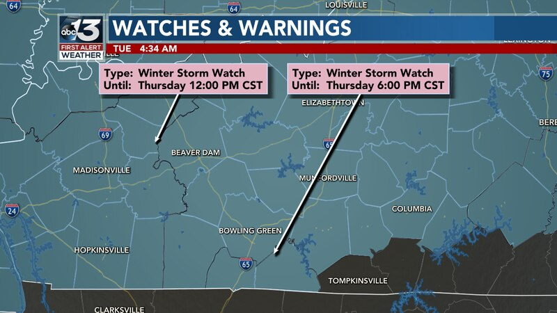 A Winter Storm Watch is in Effect until 6:00PM CST Thursday