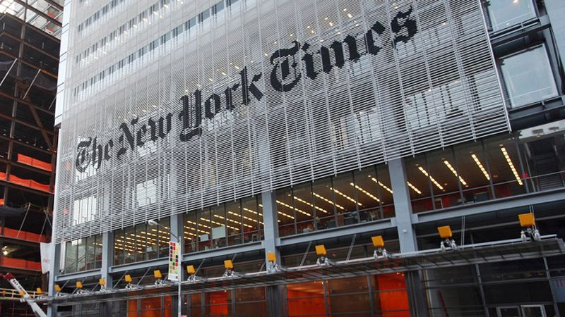 In this July 22, 2008 file photo, traffic passes in front of The New York Times building in...