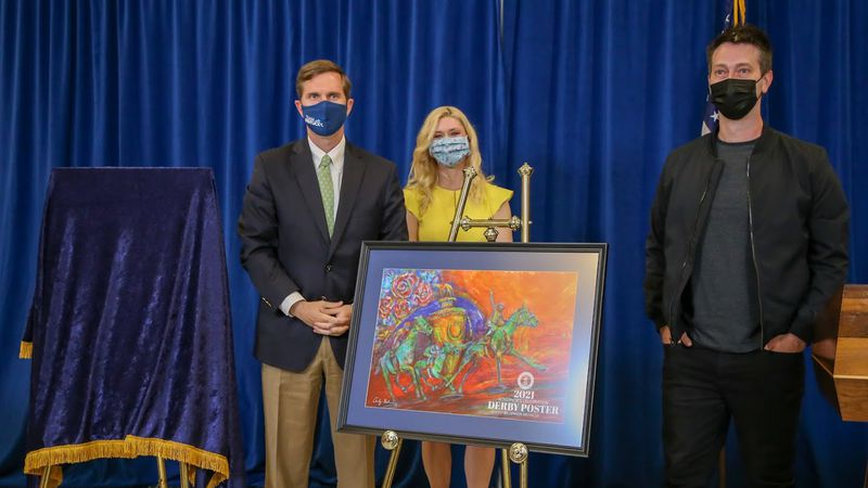 Governor Andy Beshear and Britainy Beshear unveil 2021 Derby poster