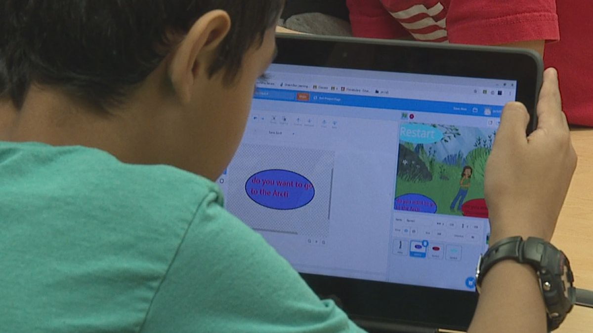 """Jennings Creek Elementary students have been working on a """"choose your own adventure"""" game coding program that is science or social studies related."""