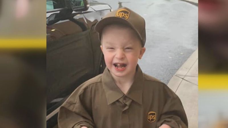 Jayden Puckett wearing his UPS gear.