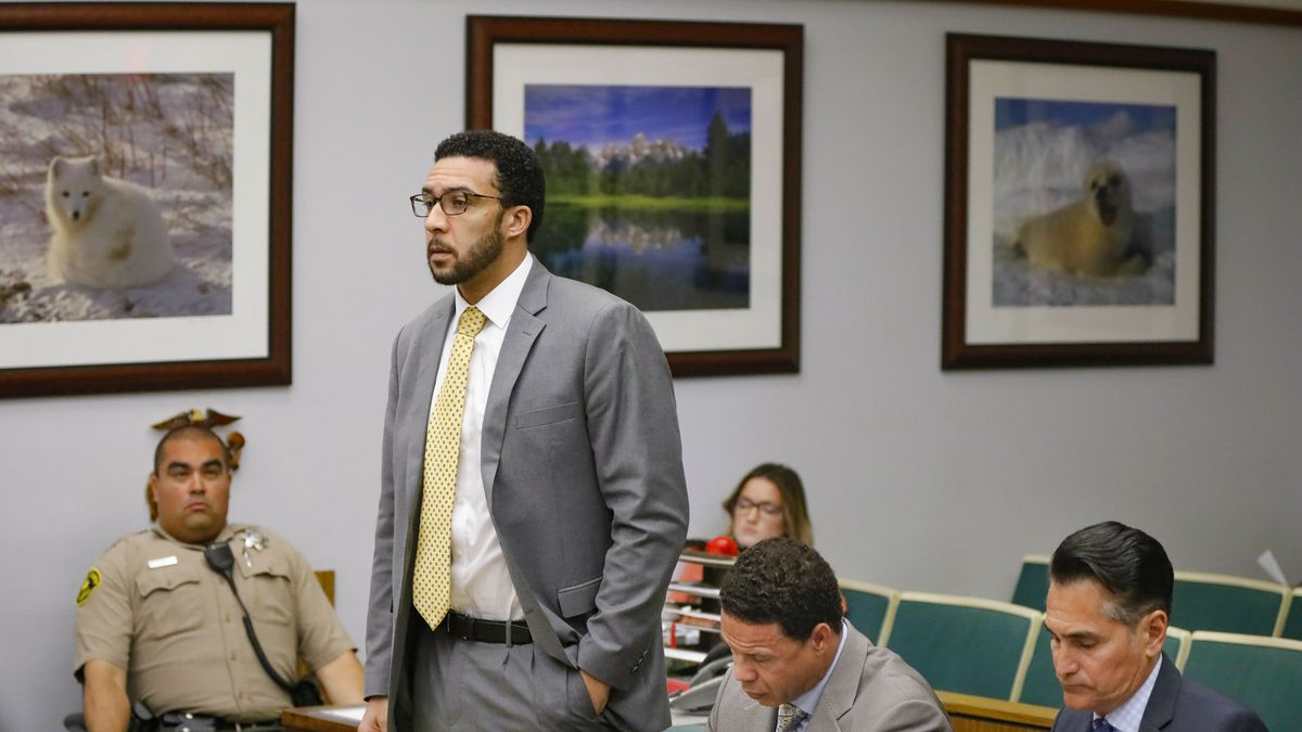 FILE - In this June 14, 2019 file photo Ex-NFL player Kellen Winslow II, standing, who was...