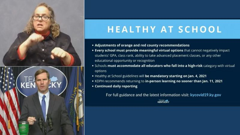 Monday Governor Beshear released new healthy at school guidance and according to the governor...