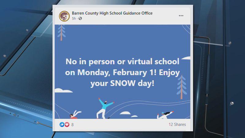 Barren County schools announces snow day.