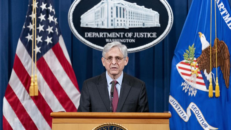 Attorney General Merrick Garland speaks about a jury's verdict in the case against former...