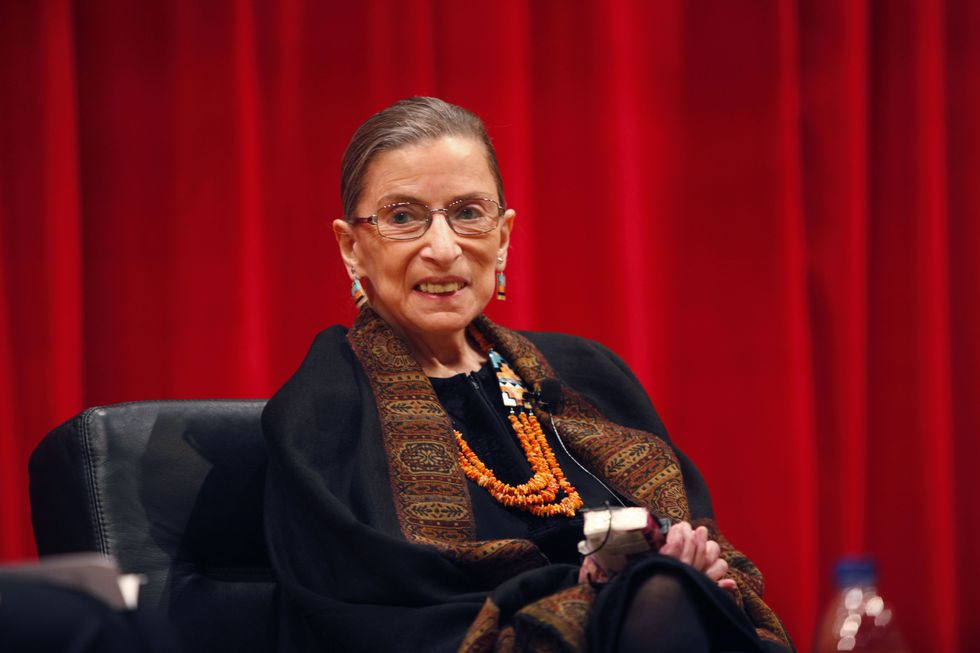 Supreme Court Justice Ruth Bader Ginsburg speaks to law students at Ohio State University to...