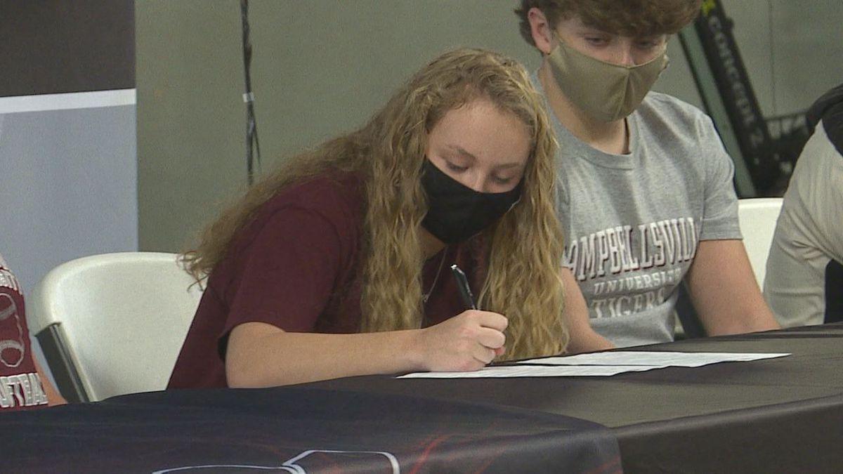 South Warren senior Emily Reynolds signed her national letter of intent with Campbellsville...