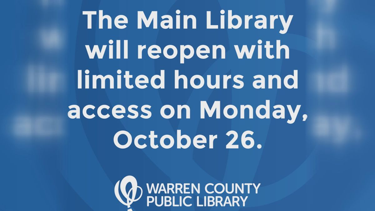 The Warren County Main Public Library has announced via a Facebook post that they will be...