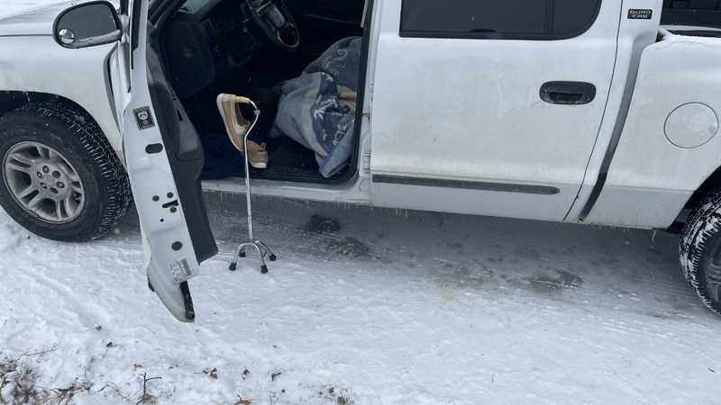 The truck that a 90-year-old woman took shelter in overnight