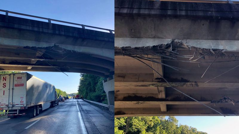 A bridge that goes over the Western Kentucky Parkway was struck by an excavator causing an...